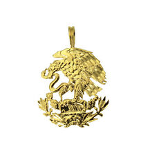 14K Yellow Gold Diamond Cut Mexico Mexican Shield Eagle Charm Pendant