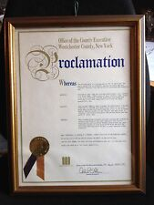 "Eric ""Winkle"" Brown Proclamation Westchester, New York Sign Andrew O'Rourke 1984"