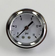 "Hot Rod Chrome White Face 1.5"" Fuel Pressure Gauge 0-15 PSI"