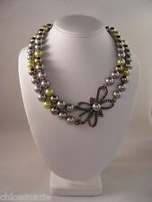"Heidi Daus ""Bow Design"" Necklace ~ Swarovski Crystals ~ Green Multi"