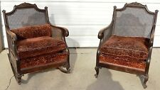 Antique Wood & Cane Rocker/Rocking & Parlor Lounge Chair W/Cushions