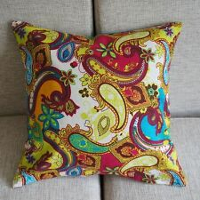 """Paisley Floral Colorful Pillow Case Cushion Cover Square 17"""" Cotton Linen PK101"""