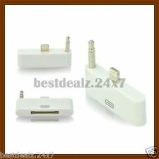 White AUDIO 3.5mm Adapter Converter Dock 8 Pin to 30 pin for iPhone 5 5G 5S
