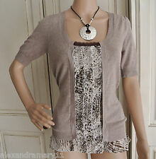 Fab Ex George Mock Two Layer Belted Top Beige, Brown and Cream Size 10