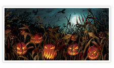 5ft Halloween Evil Pumpkin Banner Party Decoration Field of Screams Scene Poster