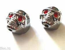 NEW 2 KNOBS METAL SKULL argent - bouton pour guitare Gibson, Epiphone,Fender...