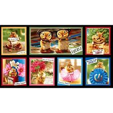 7 SILLY CHIPMUNK COTTON PANELS FOR CRAFTS, QUILTS, HOME DECOR, OR OTHER PROJECTS
