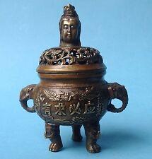 2v2: Asiatika Bronze Weihrauch-Brenner Räuchergefäß Censer China gemarkt ~1850