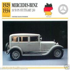 MERCEDES-BENZ 10/50PS STUTTGART 260 1930 1937 CAR GERMANY DEUTSCHLAND CARD FICHE