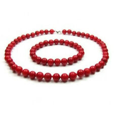 6-7mm Real Japan Red Coral Round Beads Jewelry Necklace Bracelet Set AAA Grade