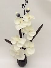 Silk/Artificial Flower Arrangement In Vase: White Orchid/Brown Vase