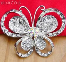 "LARGE 2.2"" SILVER BUTTERFLY DIAMANTE CRYSTAL BROOCH WEDDING BRIDAL PARTY BROACH"