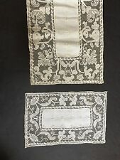 15 Pc Placemat & Runner Set Ecru Linen & Embroidered Lace.E27