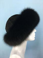 Finn Fox Fur Roller Hat. With Suede. Saga Furs. Regular Women's Size.