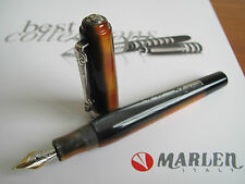 Marlen Continenti Africa black-honey-tan Medium 18ct gold nib fountain pen MIB