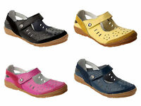 WOMENS DOWN TO EARTH SOFT LEATHER COMFORT FLAT WALKING WORK SHOES LADIES UK 3-8