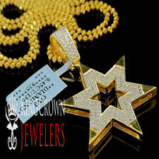 Real Genuine Diamond Star Of David Pendant Charm 10K Yellow Gold Finish 2 Inch