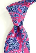 NWT Ted Baker London Red w/ Woven Purple Green & Black Paisley Silk Neck Tie USA