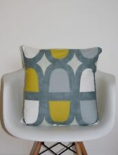 GEOMETRIC CUSHION COVER GREY YELLOW SAFFRON OCHRE PRESTIGIOUS DOCKLANDS FABRIC