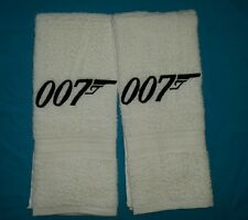 CUSTOM - PERSONALIZE JAMES BOND 007 LOGO WHITE EMBROIDERED BATH HAND TOWEL SET