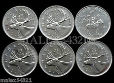 1969 TO 1975 CARIBOU 25-CENT SET UNC (6 COINS) (NO 1970)