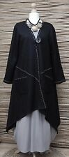 LAGENLOOK*NESLAY*WOOL MIX AMAZING BEAUTIFUL QUIRKY LONG JACKET*BLACK* Size M-L
