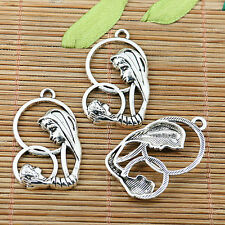 6pcs tibetan silver tone Mom and kid charms EF1981