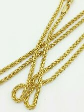 """14k Yellow Gold Round Wheat Necklace Pendant Chain 22"""" 2.1mm"""