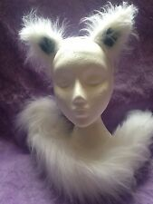 Arctic Wolf Ears And Tail Set White/Grey Luxury Christmas Fancy Dress One Size