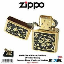 Zippo #20903 Gold Floral Flourish Emblem Lighter, Brushed Brass, Genuine USA
