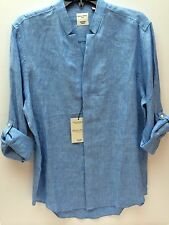 MURANO Mandarin Collar  Men's Slim Fit Blue Linen Size Large Long Sleeve Shirt