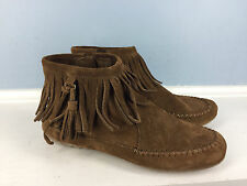 MINNETONKA Brown Suede Ashby Fringe Feather Tassel Moccasin Ankle Boots 6 anthro