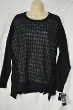Alfani Womens XL Long Sleeve Black Sweater NEW Sequined Silver $69.50 MSRP