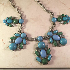 Womans  Necklace Bib Blue and Green Turquoise With Rhinestones New York Signed
