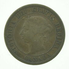 1891 Canada Large One Cent Small Date + Leaves Coin Currency