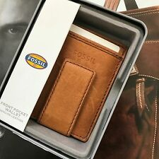 Fossil Men Cognac Leather Ingram Money Clip Multi-Card Case Wallet ML3235222 NWT