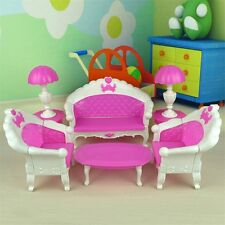 7Pcs Toys Barbie Doll Sofa Chair Couch Desk Lamp Furniture Set Disassembled UL