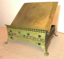 antique ornate jeweled gilt brass religious church bible altar stand book holder