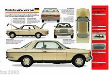 1979 MERCEDES-BENZ 280CE / 280 CE SPEC SHEET / Brochure: '79