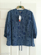Kew (Puzzle) Blue & white Patterned COTTON & SILK SHIRT / Camicetta-Taglia media NUOVO