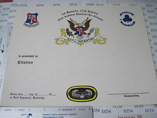Army Obs. 327th Infantry 3rd Battalion 101st Airborne Blank Citation CERTIFICATE