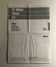 Nikon Nikkor AF 35mm f/2 Lens - Genuine Instruction Manual