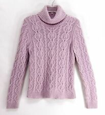 Fluffy ANGORA & WOOL Soft Lavender Cable Knit Turtle Neck Sweater THE LIMITED L