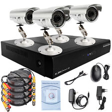 4 CH D1 DVR HD 600TVL CMOS Outdoor Color IR Home CCTV Security Cameras System