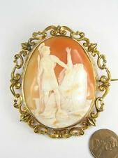 UNUSUAL ANTIQUE GOLD FINELY CARVED SHELL CAMEO BROOCH c1860 ATHENA ? & LION