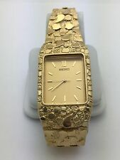 "Seiko Men's 14k Solid Yellow Gold Nugget Style  8"" Wrist Rectangular Watch 43 g"