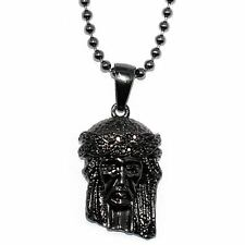 Black Micro Jesus Piece Pendant Black + 30 inch Ball chain Necklace HIGH QUALITY
