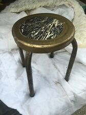 """Vintage Antique  Metal Industrial Stool 11"""" Round Seat Four Legs Free Shipping"""
