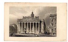 "Antique Print ""The Royal Exchange"" 1847, Bank, Steel Line Engraving, 1800-1899"