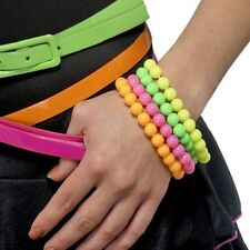 Ladies 80s 1980s Fancy Dress Beads Bracelet Pack of 4 Neon Colours by Smiffys